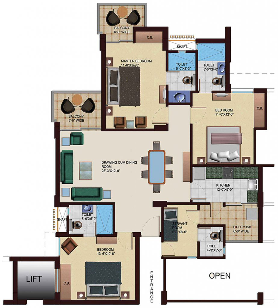3 BHK & Servant Quarter Plan
