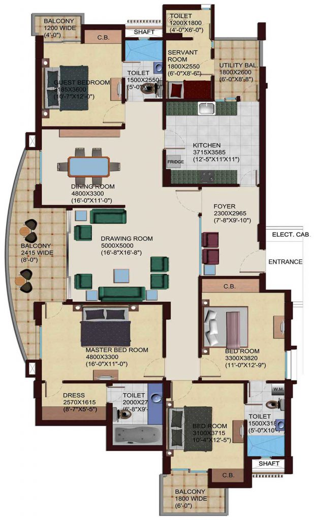 4 BHK & Servant Quarter Plan